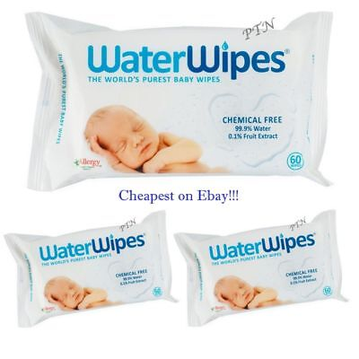 3 Packs WaterWipes Natural Baby Nappy For Sensitive Skin ( 180 Wipes )