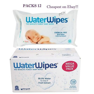 WaterWipes Natural Baby Nappy For Sensitive Skin Value buy Packs of 12 (720 Wip)