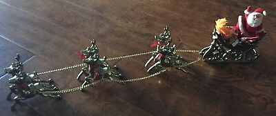 Brass Santa Sleigh With Six Reindeer & Sleigh Also Includes A Vintage Santa