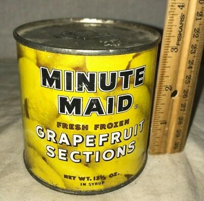 Antique Minute Maid Grapefruit Fruit Sections Tin Litho Grocery Store Food Can