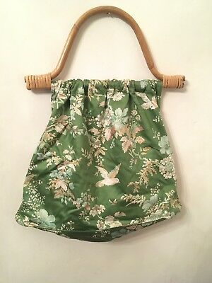 VINTAGE KNITTING / SEWING / CRAFT BAG With Thick Bamboo Handles - Bird & Floral