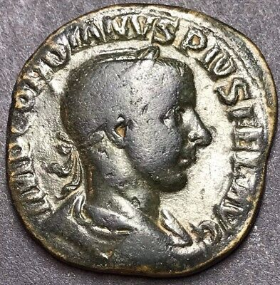Scarce Gordianus III AE Sestertius. Ancient Roman Imperial Coin. Rome Mint.