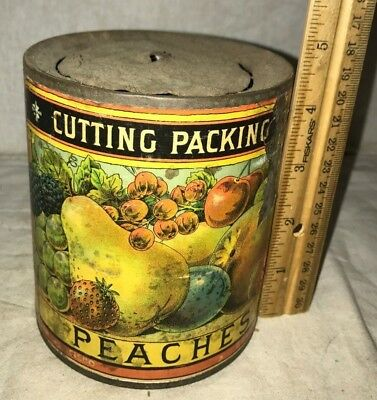 Antique Cutting Packing Peaches Tin Early Country Store Food Fruit Can Griffin