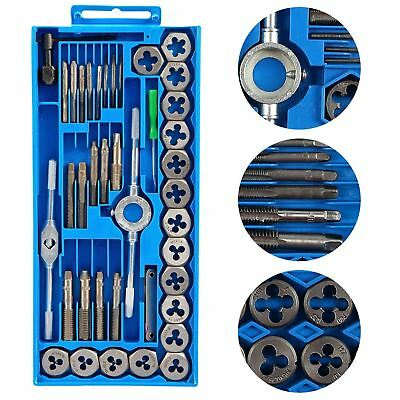 40pc Wrench Tap & Die Set Cuts M3-M12 Bolts Engineers Kit With Hard Storage Box
