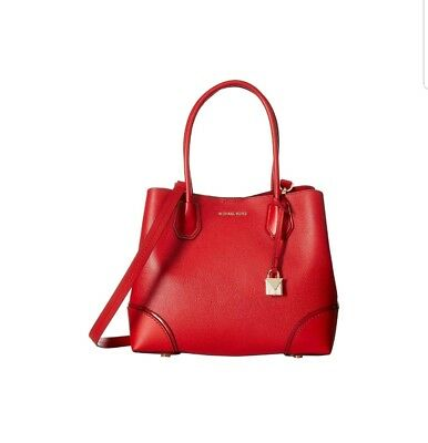 NWT MICHAEL KORS MERCER CORNER STUDIO MD CENTER ZIP TOTE RED  free MK charm  be21e5fef586f