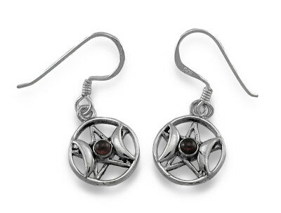 Sterling Silver Triple Goddess Pentacle Dangle Earrings with Red Stones