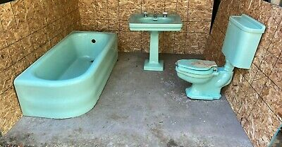 Antique American Standard Ming Jadeite Green Bath Set Tub Sink Toilet 624-18E