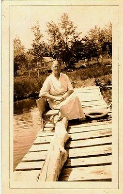 Vintage Antique Photograph Older Woman Sitting on Bench On Dock By Water