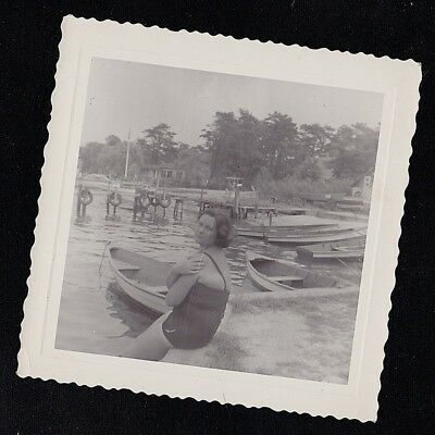Vintage Antique Photograph Woman in Bathing Suit Sitting By Boats in Water