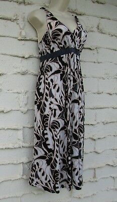 LIZ LANGE MATERNITY Sz XS V-Neck Strap Dress, Abstract White Black Onyx Tan EUC