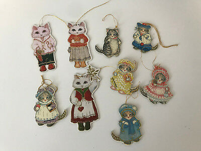 9 Kitty Cucumber Merrimack Die Cut Christmas Ornaments 1983 Kittens Cats