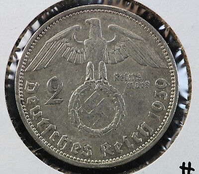 1939-A Germany Third Reich 2 Reichsmark KM# 93
