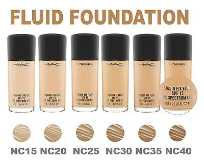 MAC Studio Fix Fluid SPF 15 Foundation ALL SHADES Brand NEW. Full Size FREE PUMP