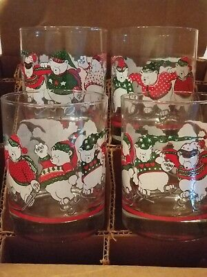 Vintage Christmas Double Old Fashioned Glasses Princess House 1991 Set Of 4