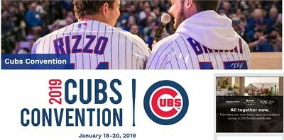 2019 Chicago Cubs Convention - SOLD OUT Sheraton Hotel Package includes 4 Passes
