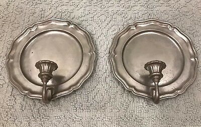 Pair of Pewter Plate Wall Sconce Candle Holder Marked