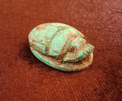 Scarab Egyptian Antiques Amulet Figurine With hieroglyphics