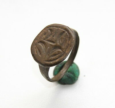 Ancient Bronze Finger Pseudo-Heraldry Stamp Ring (DCR03)