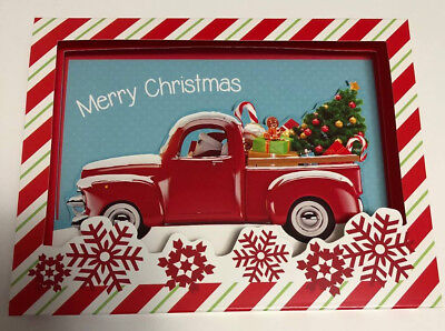 NEW Santa Driving Old Little RED PICKUP TRUCK CHRISTMAS CARDS Box of 8 Pop Up