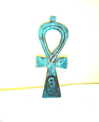 Ankh egyptian antiques pendant necklace chain cross bronze amulet