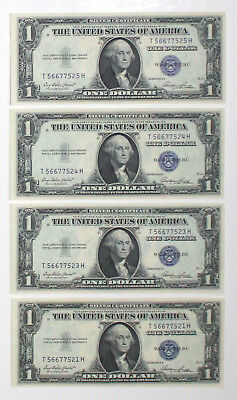1935 E $1 Silver Certificates 4 pc Lot CU 3 Notes are Sequential