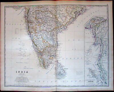 Southern India Burmah inset Balacca Bengal Ceylon c.1865 large Johnston map