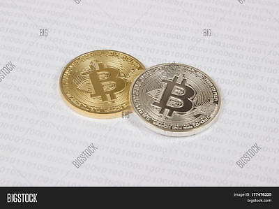 2x Silver Gold Plated Bitcoin Physical Crypto currency bit coin fine .999 money