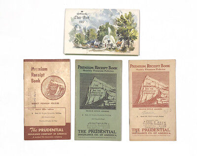 3 50's Prudential Receipt Insurance Books Cleveland, OH 1967 Hallmark Datebook