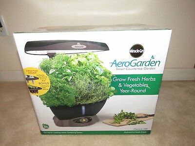 MIRACLE GRO AEROGARDEN Classic 6 100604 Black Smart Countertop Garden New