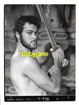 Tony Curtis Vintage 4X5 Photo Barechested W/ Sword 1958 The Vikings
