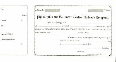1850s Philadelphia & Baltimore Central Railroad stock certificiate