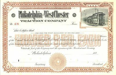 1890s Philadelphia & West Chester Traction Co stock certificate railroad trolley