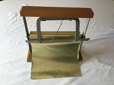 """Vintage 8"""" Paper Cutter Roll Holder Dispenser Iron Butcher Craft Wrapping NJ"""