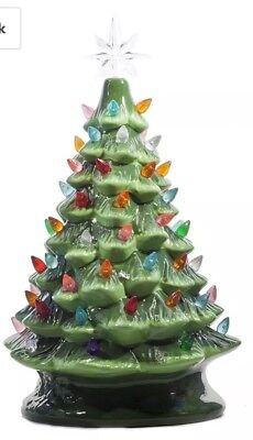 "Vintage style Ceramic Green Christmas Tree 14.5"" Tabletop Multi Color Lights"