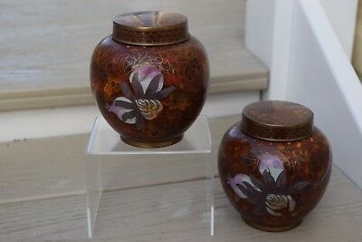 Pair of Metal Cloisonne Lidded jars Ginger jars in good condition.