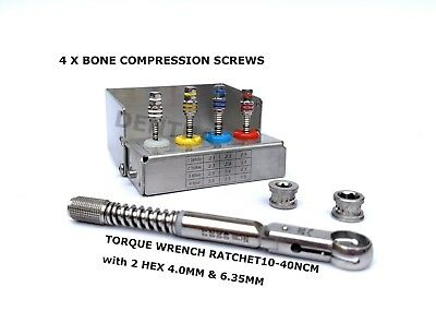 Torque Wrench Ratchet 10-40 ncm & Bone Compression Screws Dental Implant & 2 Hex