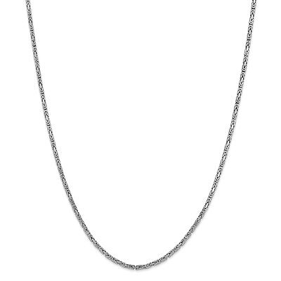 14k 2mm White Gold 24in Byzantine Necklace Chain. Metal Wt-16.61g