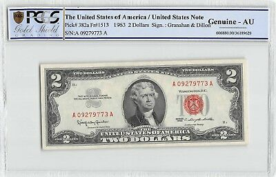 1963 Red Seal Legal Tender $2 Bill PCGS GS Currency Genuine AU  Christmas Gift