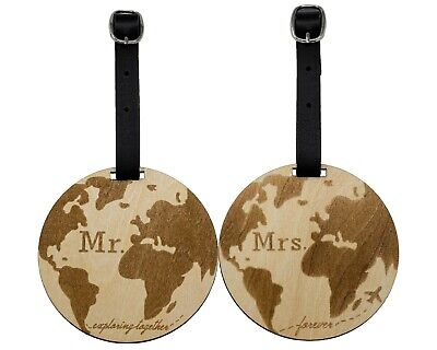 Mr and Mrs Wooden Luggage Tags Travel Cute Couples Gift (Pack of 2)