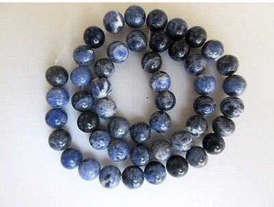 Sodalite Large Hole Gemstone 8mm Round Bead Drill Size 1mm 15 Inch Strand GDS570