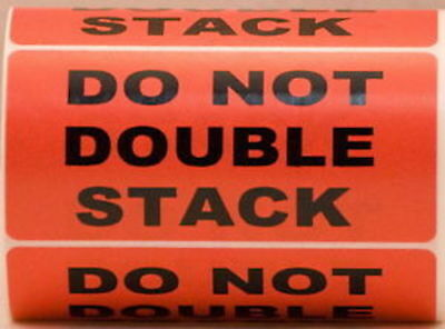 """Red DO NOT DOUBLE STACK Pallet Shipping Labels (4"""" x 2"""", 500/Roll)"""