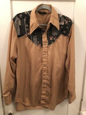 Vintage Sears Western Wear X-Lg 17-17.5 Long Sleeve Quilted Floral Shirt 1970's