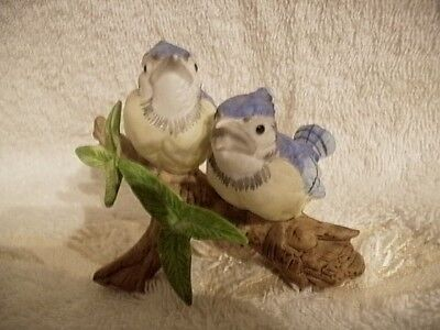 Vintage Lefton Hand Painted Pair of Baby Blue Jays On A Branch #03306 Adorable!