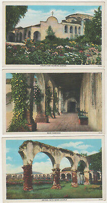 4 Vintage Postcard Mission San Juan Capistrano, The Chapel,and Corridor Calif.