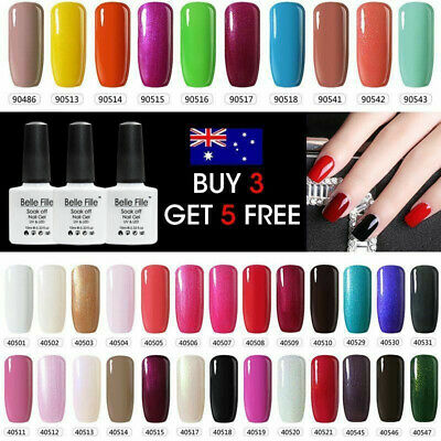 Shiny 79 Colors UV/LED Soak Off Gel Nail Polish Art Top Base Coat BELLE FILLE AU