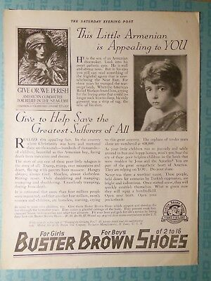 Near East Relief, in 1918 Buster Brown Shoes ad, Sat. Eve. Post, Armenian kids