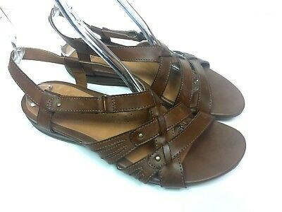 7c68db9047 G H Bass And CO Womens 10M Brown Leather Sandals Shoes Slingback Strappy  Casual