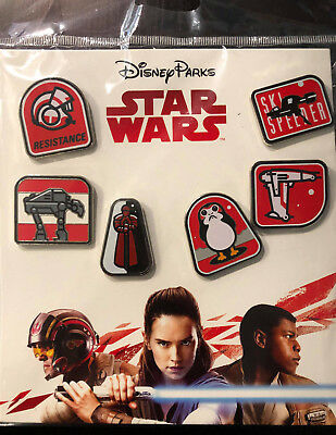 2017 Disney Parks Authentic Disney Star Wars The Last Jedi Booster Set of 6 Pins