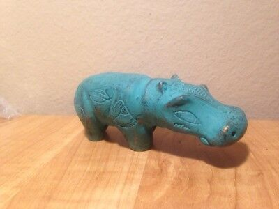 Carved Black  Soap Stone  Brass and patina painted Hippo Figurine