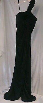 Adrianna Papell Black Womens 4 Embellished One-Shoulder Evening Gown Dress a1